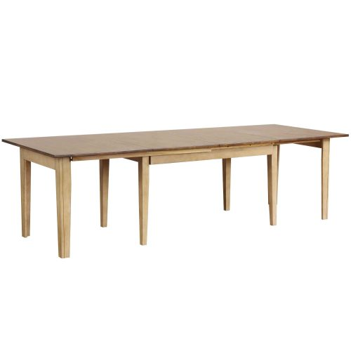Brook Dining - Extendable dining table in creamy wheat finish with Pecan top partially extended - DLU-BR134-PW