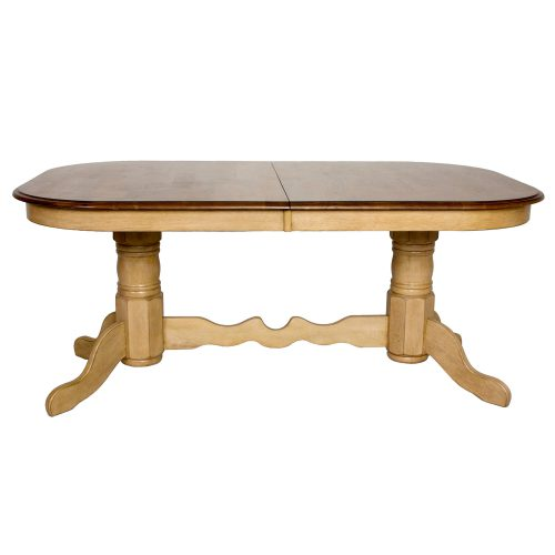 Brook Dining - Extendable double pedestal table - Finished in creamy wheat with a Pecan top - side view DLU-BR4296-PW
