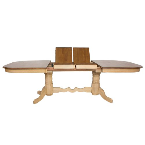Brook Dining - Extendable double pedestal table - Finished in creamy wheat with a Pecan top - side view with butterfly leaf DLU-BR4296-PW