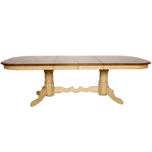 Brook Dining - Extendable double pedestal table - Finished in creamy wheat with a Pecan top - side view with butterfly leaf in place DLU-BR4296-PW