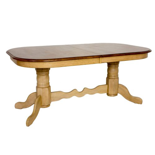 Brook Dining - Extendable double pedestal table - Finished in creamy wheat with a Pecan top - three-quarter view DLU-BR4296-PW