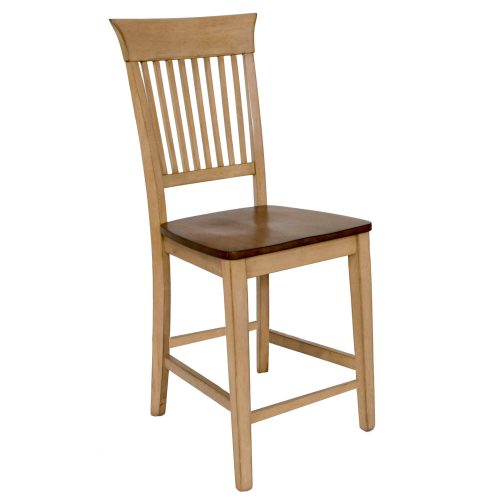 Brook Dining - Fancy slat barstool finished in creamy wheat with a pecan seat - front view DLU-BR-B70-PW-2