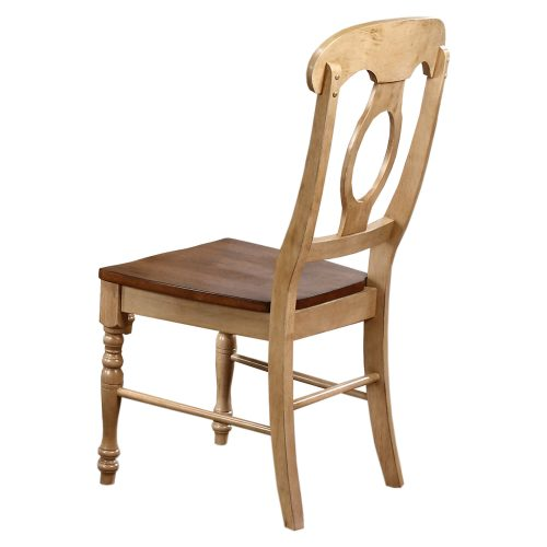Brook Dining - Napoleon dining chair finished in creamy wheat with Pecan seat - angled back view DLU-BR-C50-PW-2