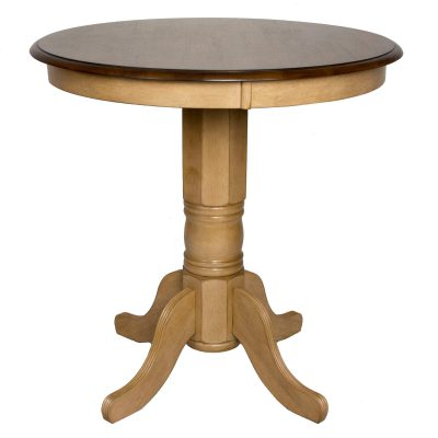 Brook Dining - Pedestal pub height dining table - finished in creamy wheat with a Pecan top DLU-BR3636CB-PW