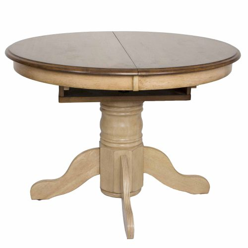 Brook Dining - Round Extendable dining table - finished in creamy wheat with a Pecan top - front view without butterfly leaf in DLU-BR4260-PW