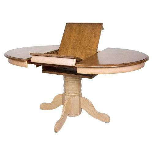 Brook Dining - Round Extendable dining table - finished in creamy wheat with a Pecan top - showing butterfly leaf DLU-BR4260-PW