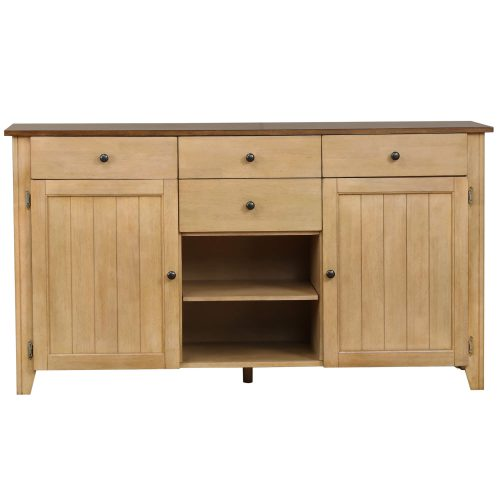 Brook Dining - Sideboard in creamy wheat finish and pecan top and accents - front view DLU-BR-SB-PW