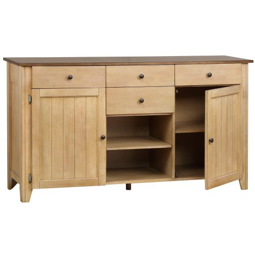 Brook Dining - Sideboard in creamy wheat finish and pecan top and accents - three-quarter view DLU-BR-SB-PW