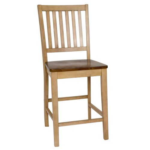 Brook Dining - Slat back barstool finished in creamy wheat with a pecan seat - front view DLU-BR-B60-PW-2