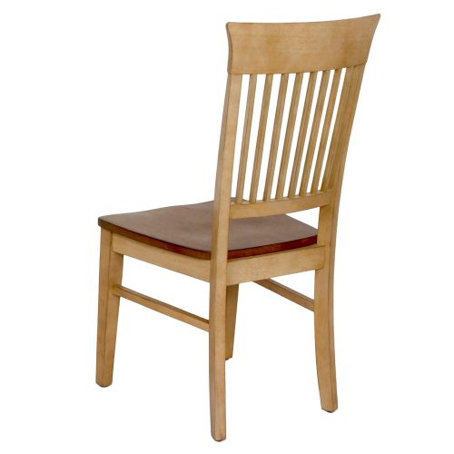 Brook Dining - Slat back dining chair finished in creamy wheat with a Pecan seat - back view DLU-BR-C70-PW-2
