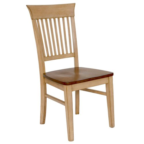 Brook Dining - Slat back dining chair finished in creamy wheat with a Pecan seat - three-quarter view DLU-BR-C70-PW-2