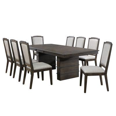 Cali Dining Collection - nine-piece dining set - three-quarter view DLU-CA113-8C-9PC