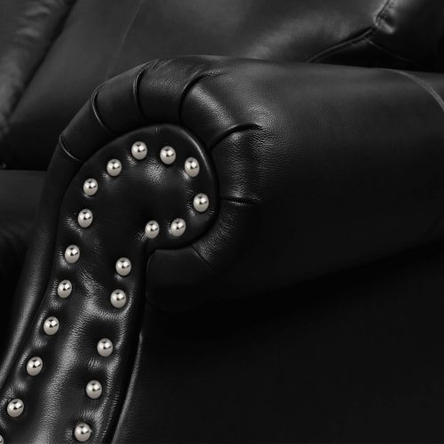 Charleston Collection in black. Detail of nailheads-SU-CR2130-80