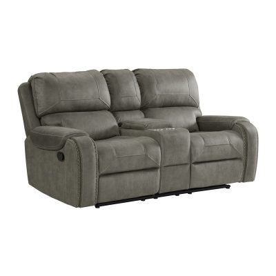 Clayton Motion Loveseat w Console in Grey. Angled view SU-CL23004100-285
