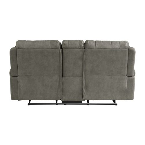 Clayton Motion Loveseat w Console in Grey. Back view SU-CL23004100-285