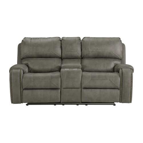 Clayton Motion Loveseat w Console in Grey. Front view SU-CL23004100-285