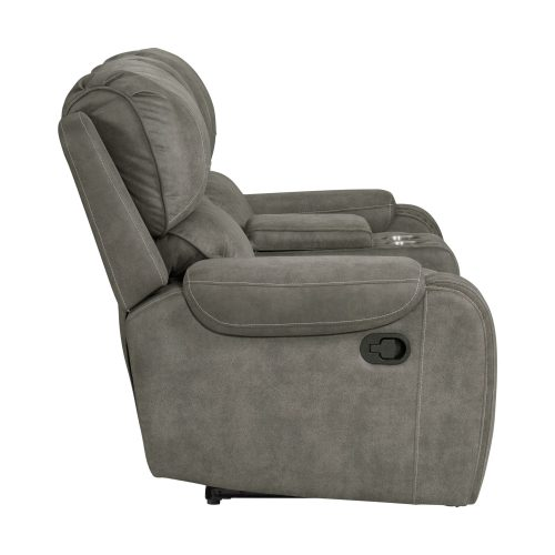 Clayton Motion Loveseat w Console in Grey. Side view SU-CL23004100-285