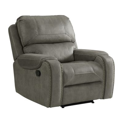 Clayton Motion Recliner in Grey. Angled view SU-CL23004100-107