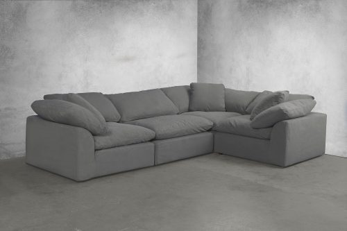 Cloud Puff 4-piece slipcovered modular L-shaped sectional sofa in room setting SU-1458-94-3C-1A