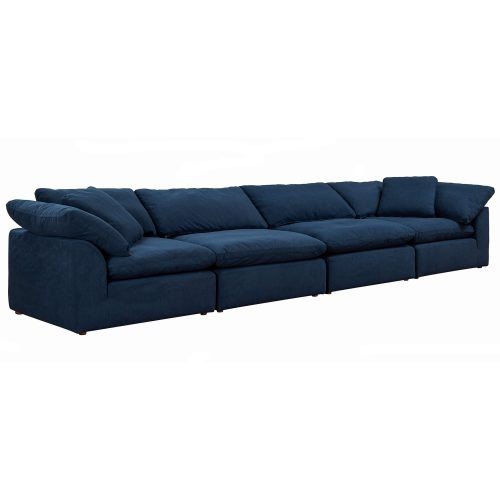 Cloud Puff 4-piece slipcovered modular sectional sofa in Navy SU-1458-49-2C-2A