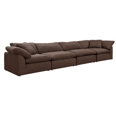 Cloud Puff 4-piece slipcovered modular sectional sofa in brown SU-1458-88-2C-2A