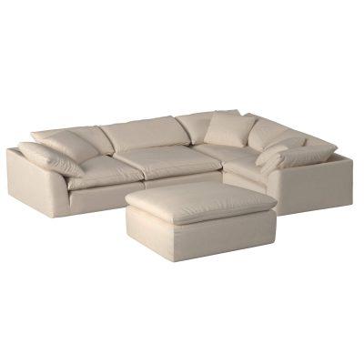 Cloud Puff 5-piece slipcovered modular L-shaped sectional sofa with ottoman SU-1458-84-3C-1A-1O