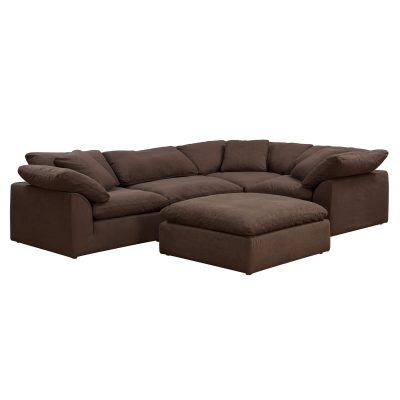 Cloud Puff 5-piece slipcovered modular L-shaped sectional sofa with ottoman in brown SU-1458-88-3C-1A-1O