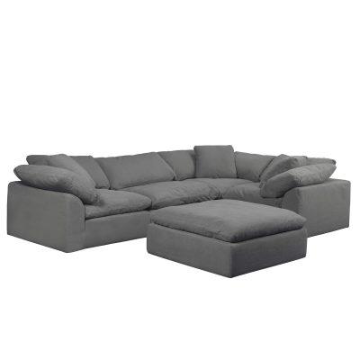 Cloud Puff 5-piece slipcovered modular sectional sofa SU-1458-94-3C-1A-1O