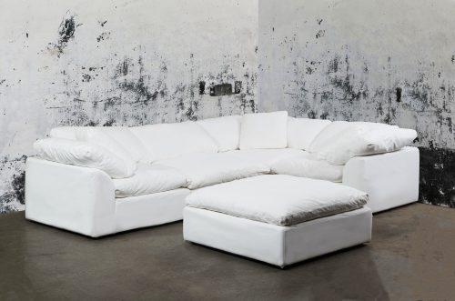 Cloud Puff 5-piece slipcovered modular sectional sofa room setting SU-1458-81-3C-1A-1O