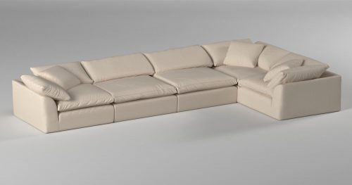 Cloud Puff 5-piece slipcovered sectional sofa in room setting SU-1458-84-3C-2A