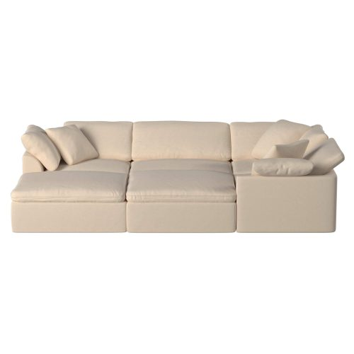 Cloud Puff 6-piece slipcovered modular pit sectional sofa with ottomans SU-1458-84-3C-1A-2O