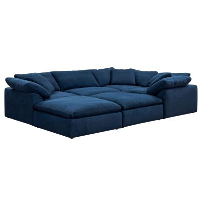Cloud Puff 6-piece slipcovered modular pit sectional sofa with ottomans in Navy SU-1458-49-3C-1A-2O