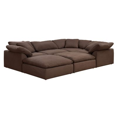 Cloud Puff 6-piece slipcovered modular pit sectional sofa with ottomans in brown SU-1458-88-3C-1A-2O