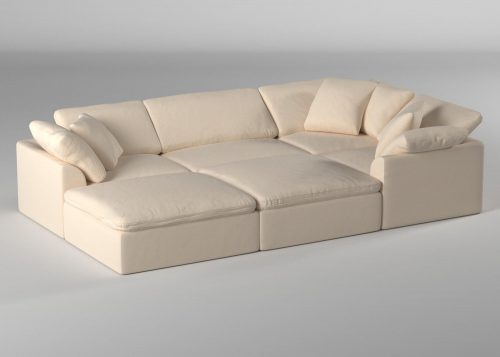 Cloud Puff 6-piece slipcovered modular pit sectional sofa with ottomans room setting SU-1458-84-3C-1A-2O
