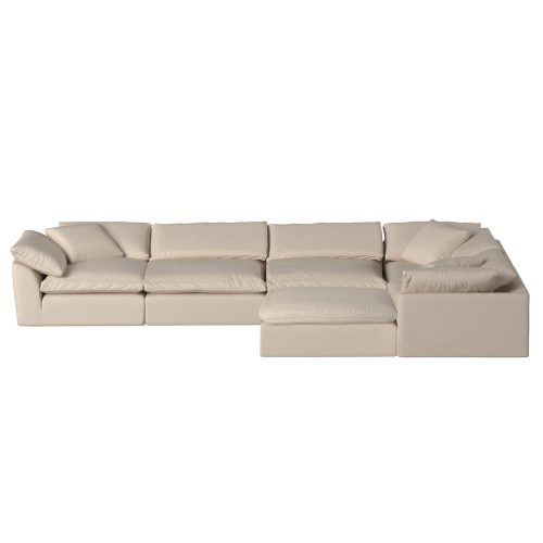 Cloud Puff 6-piece slipcovered sectional sofa with ottoman SU-1458-84-3C-2A-1O