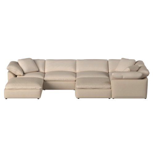 Cloud Puff 7-piece slipcovered sectional sofa with ottomans SU-1458-84-3C-2A-2O