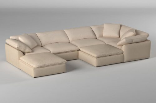 Cloud Puff 7-piece slipcovered sectional sofa with ottomans room setting SU-1458-84-3C-2A-2O
