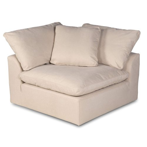 Cloud Puff Collection - Slipcovered sectional armchair modular corner sofa - front view SU-145851-391084