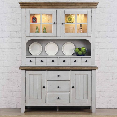 Country Gove Collection - Buffet - Hutch in distressed gray and brown - dining room setting DLU-CG-BH-GO
