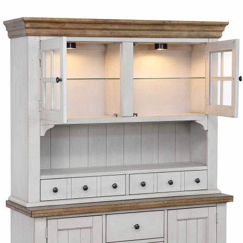 Country Gove Collection - Buffet - Hutch in distressed gray and brown - three-quarter view with doors open DLU-CG-BH-GO