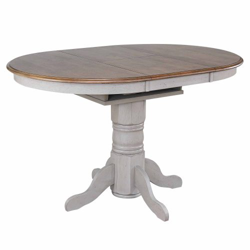 Country Grove Collection - Round Extendable Pub Table in distressed Gray finish and Oak - three-quarter view with leaf DLU-CG4260CB-GO