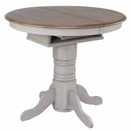 Country Grove Collection - Round Extendable Pub Table in distressed Gray finish and Oak - three-quarter view without leaf DLU-CG4260CB-GO