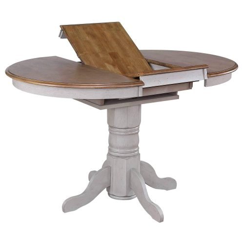 Country Grove Collection - Round Extendable Pub Table in distressed Gray finish and Oak - view of butterfly leaf DLU-CG4260CB-GO