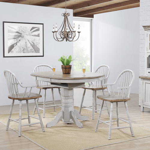 Country Grove Collection - Round Extendable Pub Table in distressed Gray finish and Oak with four Windsor counter height armchairs DLU-CG4260CB-GO