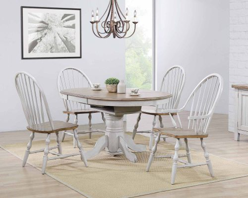 Country Grove Collection - Round Pedestal table in distressed gray with Oak top with two Windsor armchairs and two Windsor side chairs DLU-CG4260-GO-5