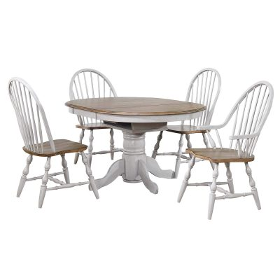 Country Grove Collection - Round extendable dining table in distressed gray with Oak top and two Windsor chairs DLU-CG4260-30AGO5
