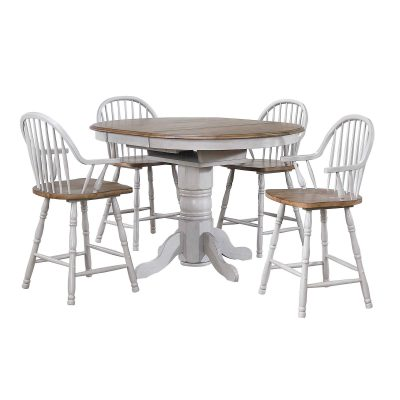 Country Grove Collection - Round pedestal pub table in distressed gray with Oak top and four Windsor bar height stools with arms DLU-CG4260CB30AGO5