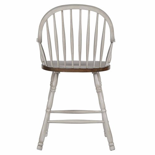 Country Grove Collection - Windsor Counter height stools with arms in distressed gray finish and Oak seat - back view - DLU-CG-B3024A-GO-2