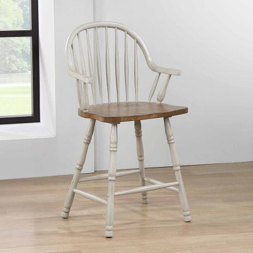 Country Grove Collection - Windsor Counter height stools with arms in distressed gray finish and Oak seat - dining room setting - DLU-CG-B3024A-GO-2