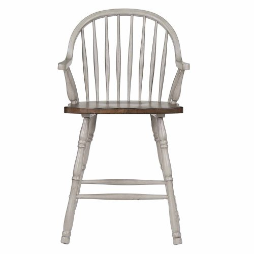 Country Grove Collection - Windsor Counter height stools with arms in distressed gray finish and Oak seat - front view - DLU-CG-B3024A-GO-2